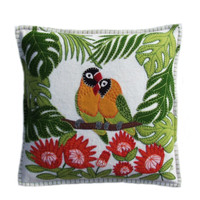 Tropical Cream Lovebirds, hand embroidered luxury cushion