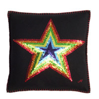 Sequin Rainbow Star cushion. Red, orange, yellow, green, blue and purple appliqué star