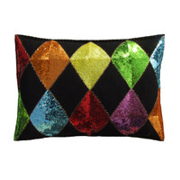 Sequin rainbow harlequin cushion, red, orange, yellow, green, blue and purple appliqué sequins.