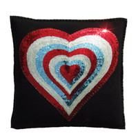Sequin Heart Cushion (Multi)