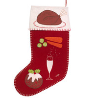 Christmas Dinner Stocking with Turkey, Christmas pudding, Champagne, carrots and sprouts appliqué and hand embroidered motifs. Cream and red wool felt.