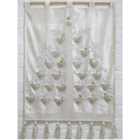 Cream velvet advent calendar, appliqué hearts and diamanté with silver stitching