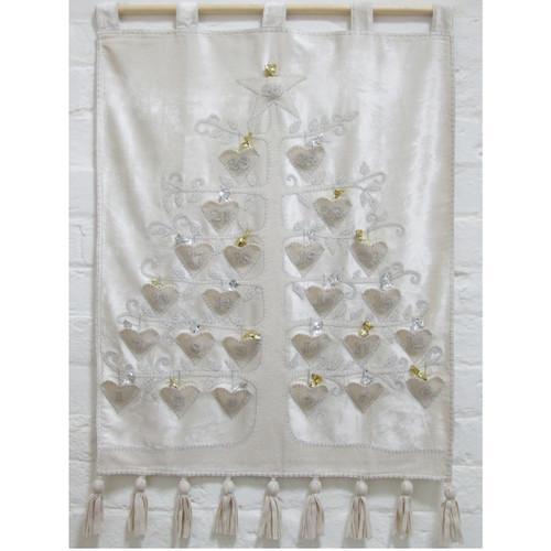 Cream velvet advent calendar, appliqué hearts and diamanté with silver stitching