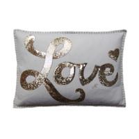 Sequin Glam Rock Love Cushion (Cream & Gold)