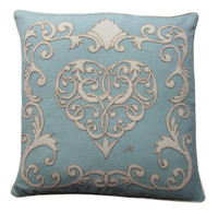 The Venetian Heart Cushion (Duck Egg Blue)