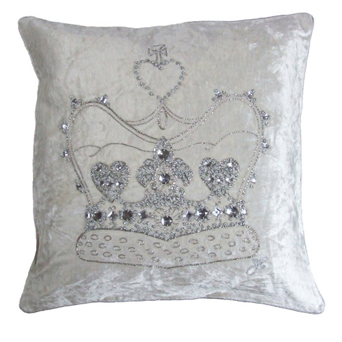 Diamante crown velvet cushion, cream, hand-embroidered