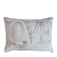 Diamante Love velvet cushion, cream, hand-embroidered