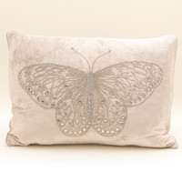 Diamante butterfly cream velvet cushion, hand-embroidered