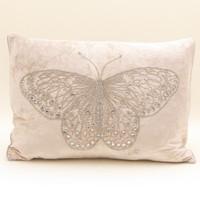 Diamante butterfly cream velvet cushion, hand-embroidered