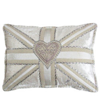 Union Jack cream velvet cushion, hand-embroidered