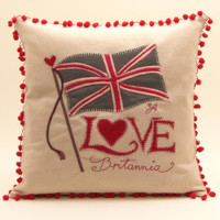 Love Britannia Cushion, cream wool with red bobbles, hand-embroidered