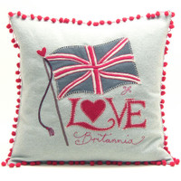 Love Britannia cushion, duck egg blue wool with red bobbles