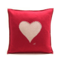 Heart cushion, red and cream wool