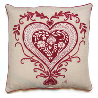 Ace of hearts cushion, cream and red, linen