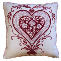 Ace of hearts cushion, cream & red, hand-embroidered