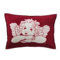 Cherub hand-embroidered designer cushion, red and cream, wool