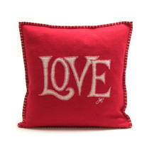 Love cushion, hand embroidered, red and cream wool
