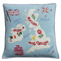 Designer British Isles Map Cushion. Luxury hand-embroidered duck egg blue wool cushion,