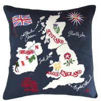 British Isles map designer cushion, navy blue linen, hand-embroidered