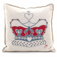 Crown cushion, cream, red and grey wool, hand-embroidered