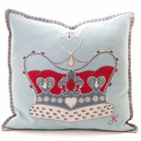Crown designer cushion, pale blue, cream, red and grey wool