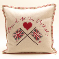 Proud to be British cushion, cream wool, Union Jack flags