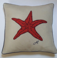 Small starfish cushion, orange wool and cream linen, hand-embroidered- seaside collection