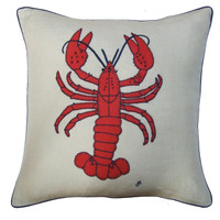 Lobster cushion, orange wool, cream linen, seaside collection