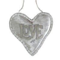 Love velvet lavender heart, hand-embroidered