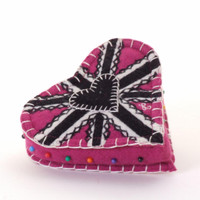 Pink Union Jack heart designer pin cushion