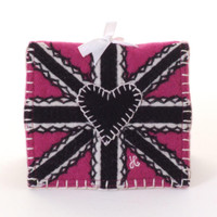 Pink Union Jack wool needle case