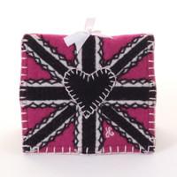 Pink Union Jack wool needle case