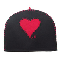 Red heart designer tea cosy, black