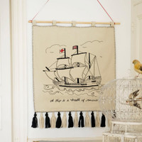 Gallion Mayflower boat wall-hanging, seaside collection, hand-embroidered