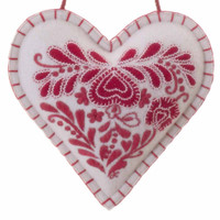 Romany Heart designer lavender bag, cream and red, wool