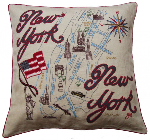 New-York map cushion, linen