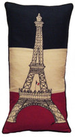 Designer Eiffel Tower hand-embroidered cushion, linen, Tour Eiffel