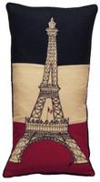 Designer Eiffel Tower hand-embroidered cushion, linen, Tour Eiffel