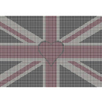 Union Jack red heart tapestry chart