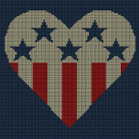 Heart Stars and Stripes Tapestry Chart