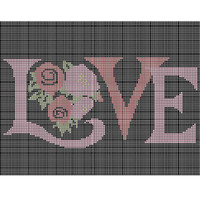 Tapestry chart, vintage rose love, black pink and red