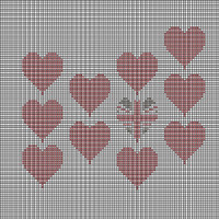 Tapestry chart, multi red and Union Jack hearts
