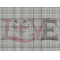 Love, Union Jack heart tapestry chart