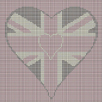 Union Jack heart tapestry chart