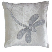 Diamante dragonfly cream velvet cushion, hand-embroidered