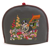 Flowers tea cosy, grey wool