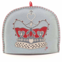 Crown tea cosy, duck egg blue wool, hand-embroidered