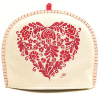 Romany heart designer tea cosy, cream and red
