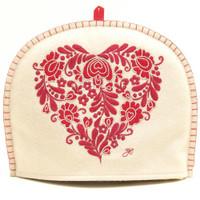 Romany heart designer tea cosy, cream and red
