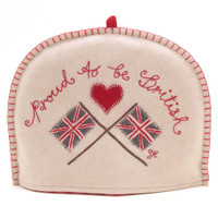 Proud to be British Union Jack Flags tea cosy, cream, red, wool